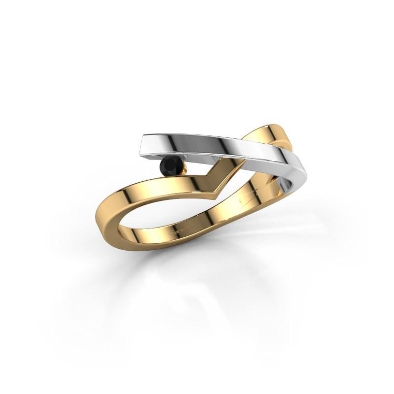 Ring Pamella 585 gold black diamond 0.054 crt