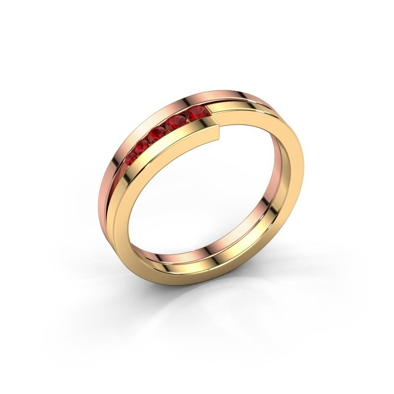 Bague Cato 585 or rose rubis 2.2 mm