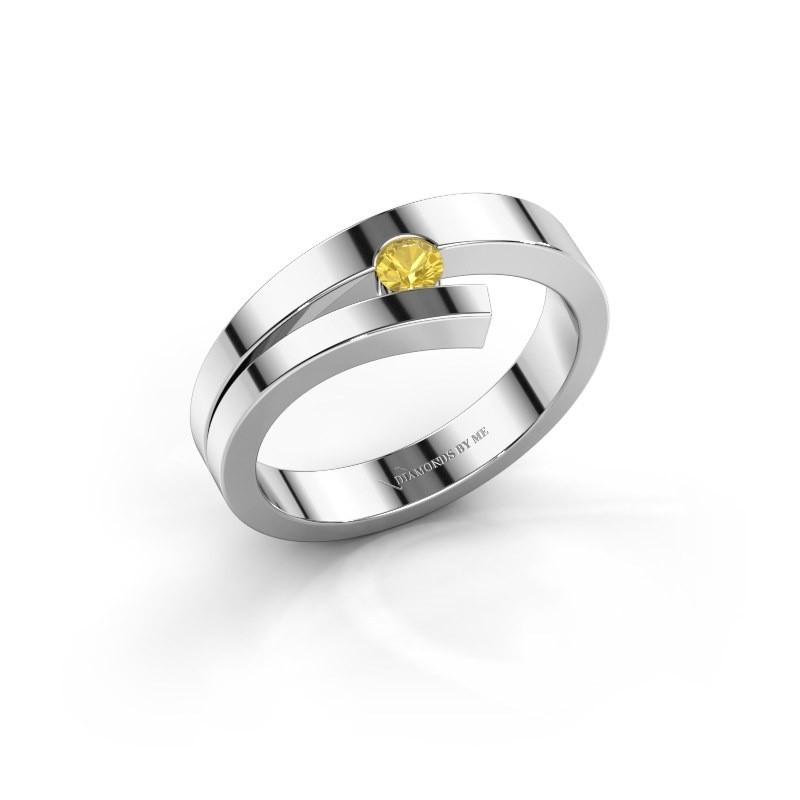 Ring Rosario 925 zilver gele saffier 3 mm