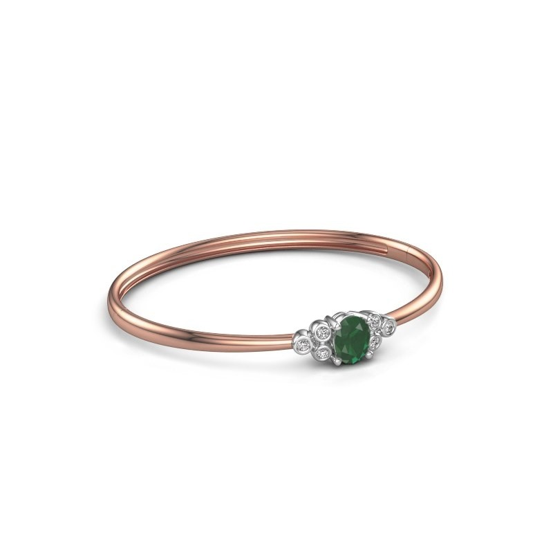 Armreif Lucy 585 Roségold Smaragd 8x6 mm