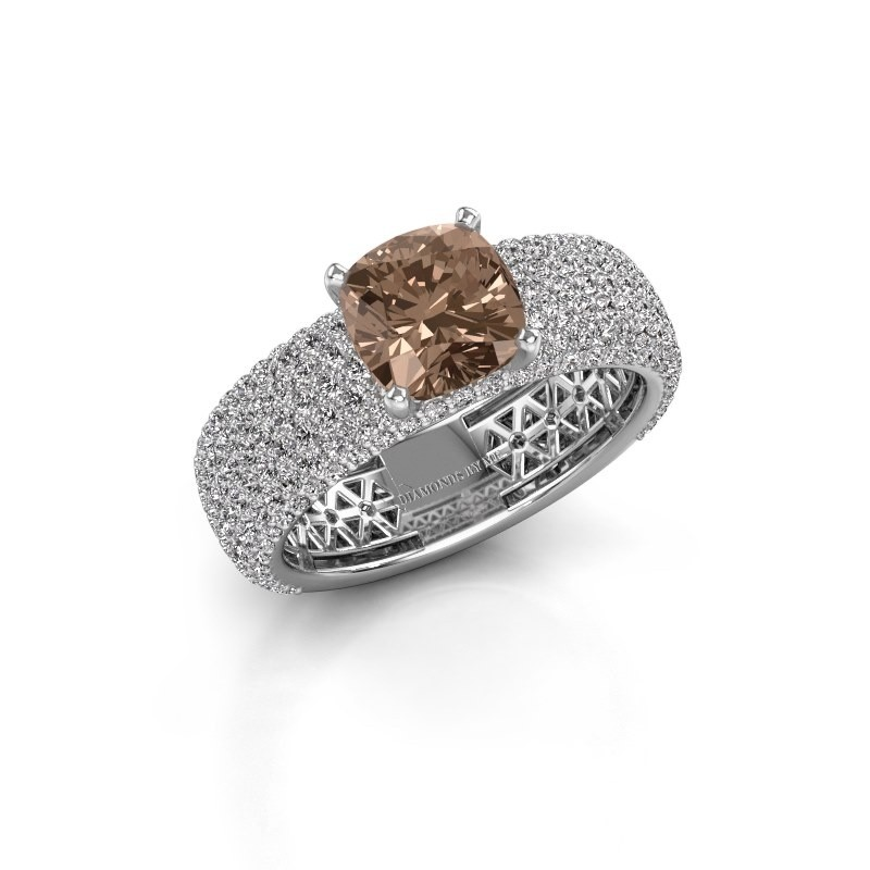 Engagement ring Darcy 585 white gold brown diamond 3.37 crt