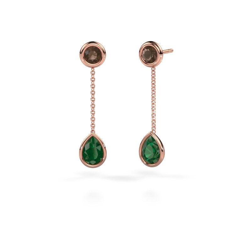 Oorhangers Ladawn 585 rosé goud smaragd 7x5 mm