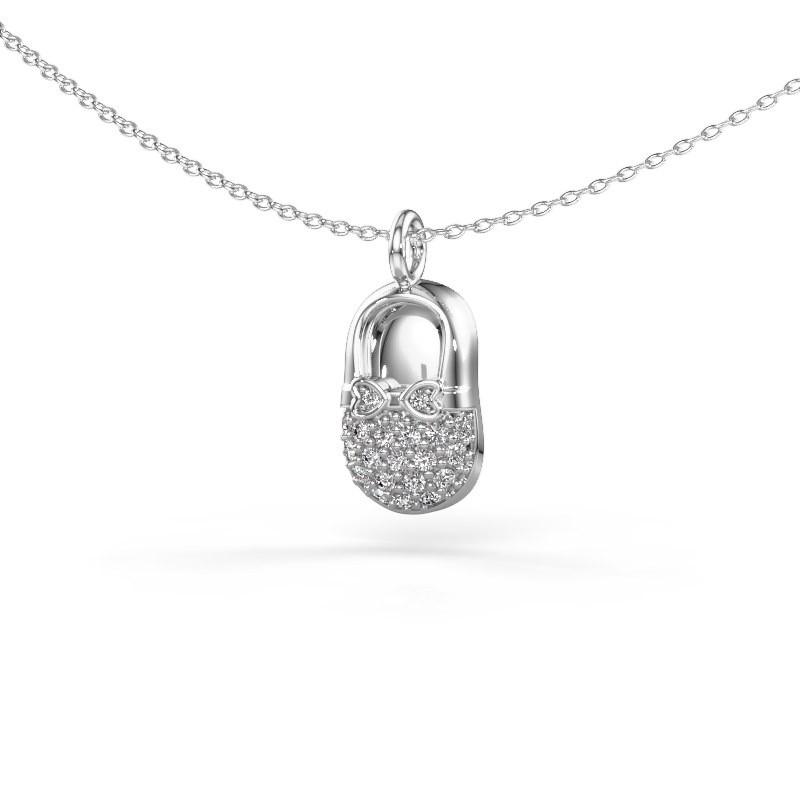 Hanger Babyshoe 375 witgoud diamant 0.193 crt