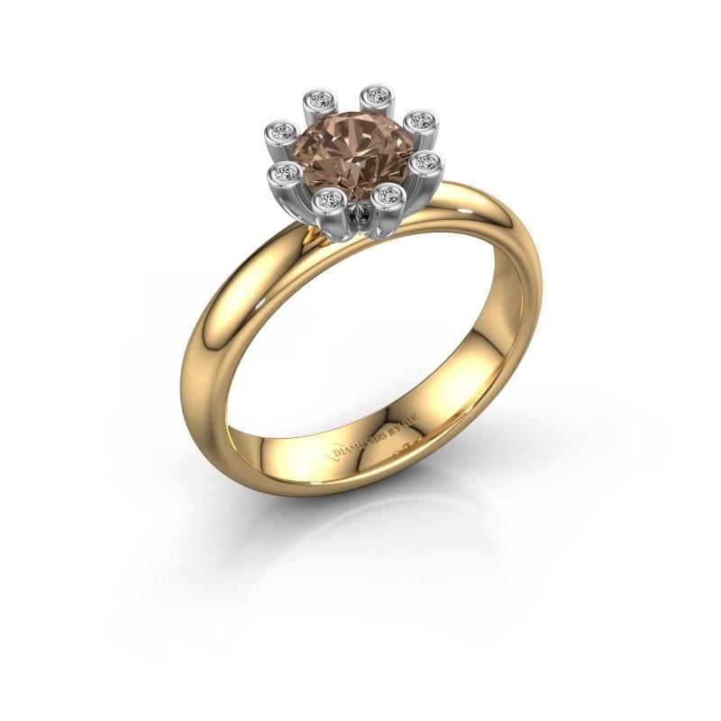 Stapelring Carola 3 585 goud bruine diamant 0.84 crt