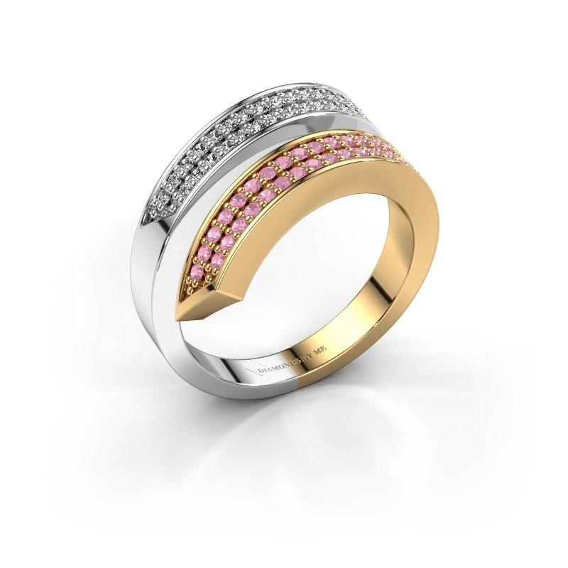 Ring Pien 585 goud roze saffier 1.2 mm