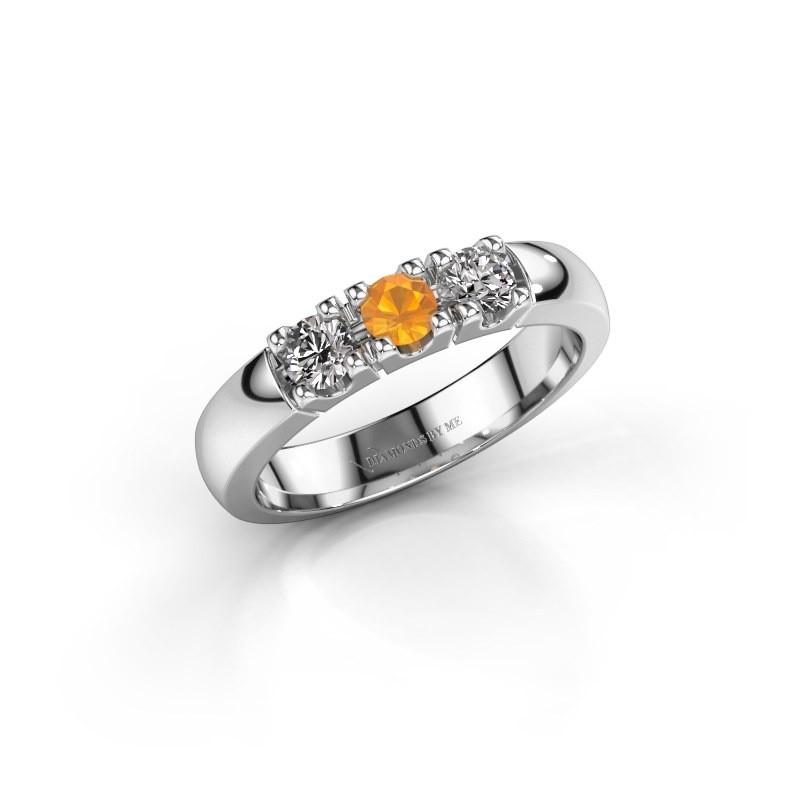 Engagement ring Rianne 3 950 platinum citrin 3.4 mm