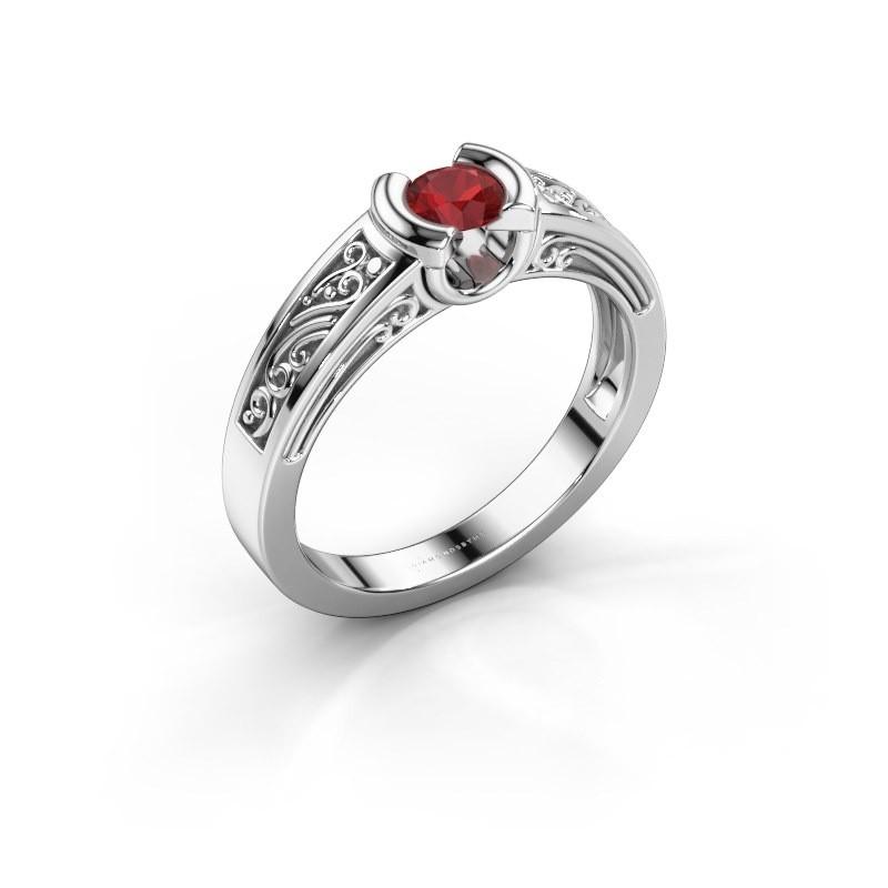 Ring Elena 585 witgoud robijn 4 mm