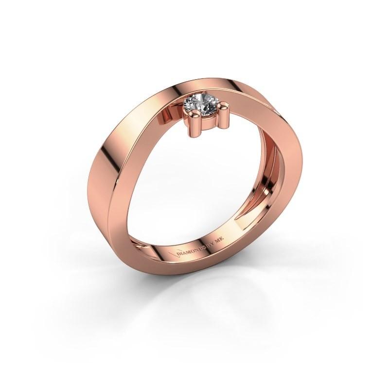 Bague de fiançailles Elisabeth 375 or rose diamant synthétique 0.15 crt