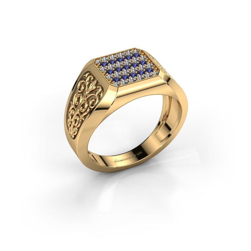 Herrenring Amir 375 Gold Saphir 1.4 mm