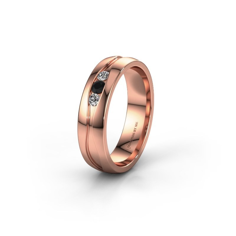 Wedding ring WH0172L25A 375 rose gold black diamond ±5x1.7 mm