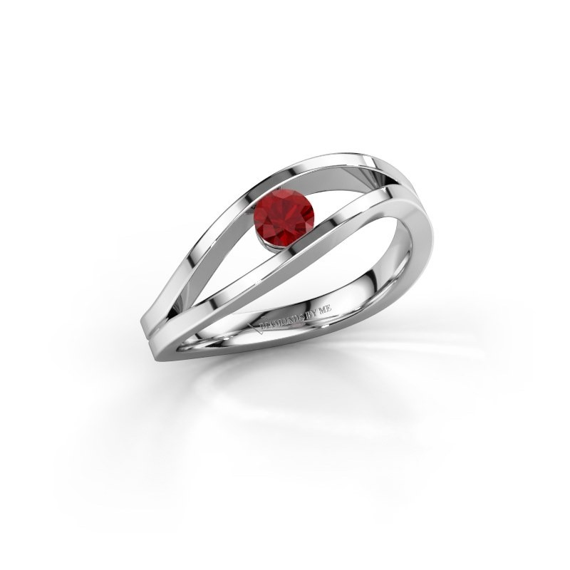 Engagement ring Sigrid 1 585 white gold ruby 3.7 mm