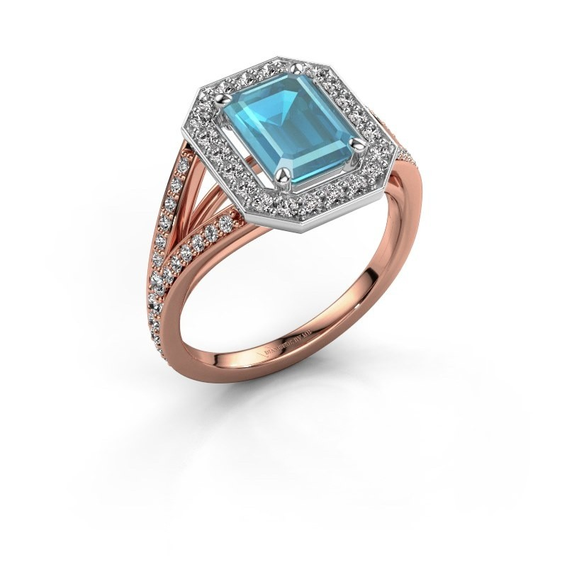 Promise ring Angelita EME 585 rosé goud blauw topaas 8x6 mm