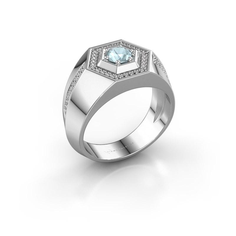 Men's ring Sjoerd 925 silver aquamarine 4.7 mm