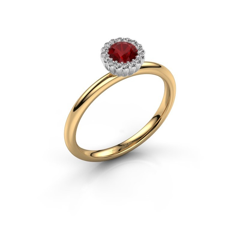 Engagement ring Queen 585 gold ruby 4.2 mm
