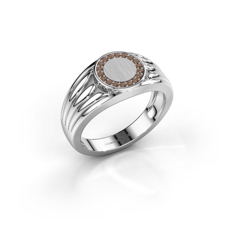Pinkring Jacobus 375 witgoud bruine diamant 0.135 crt