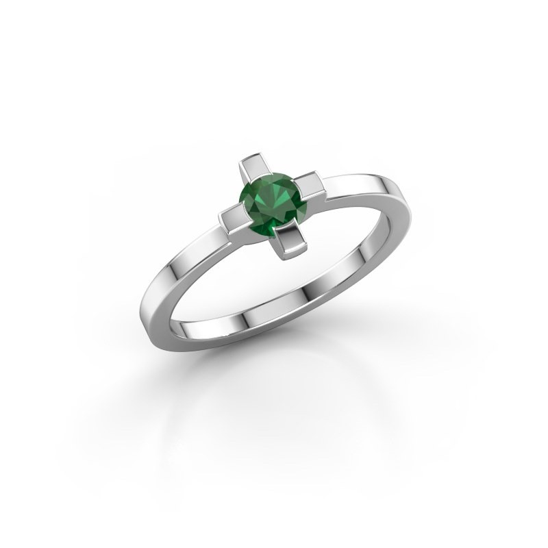 Ring Therese 585 witgoud smaragd 4.2 mm