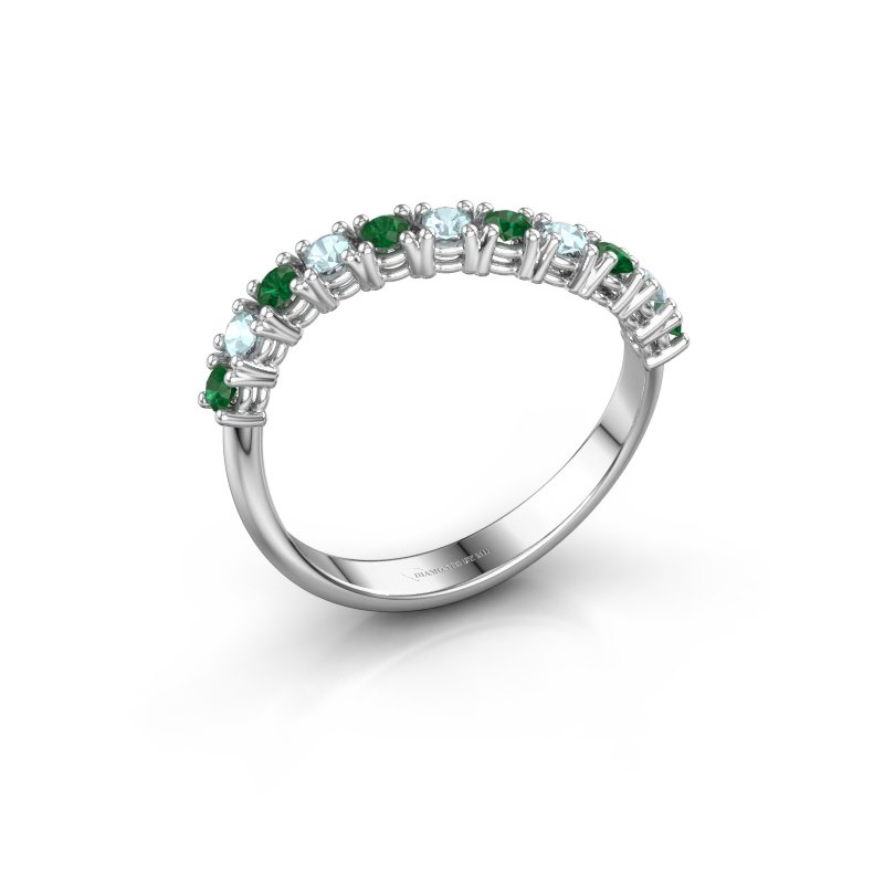 Ring Eliza 585 witgoud smaragd 2 mm