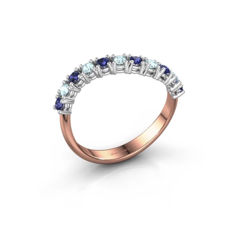 Ring Eliza 585 rosé goud saffier 2 mm