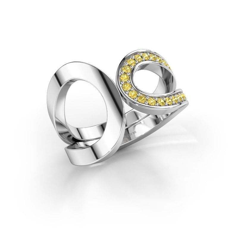 Ring Aniek 585 white gold yellow sapphire 1.3 mm