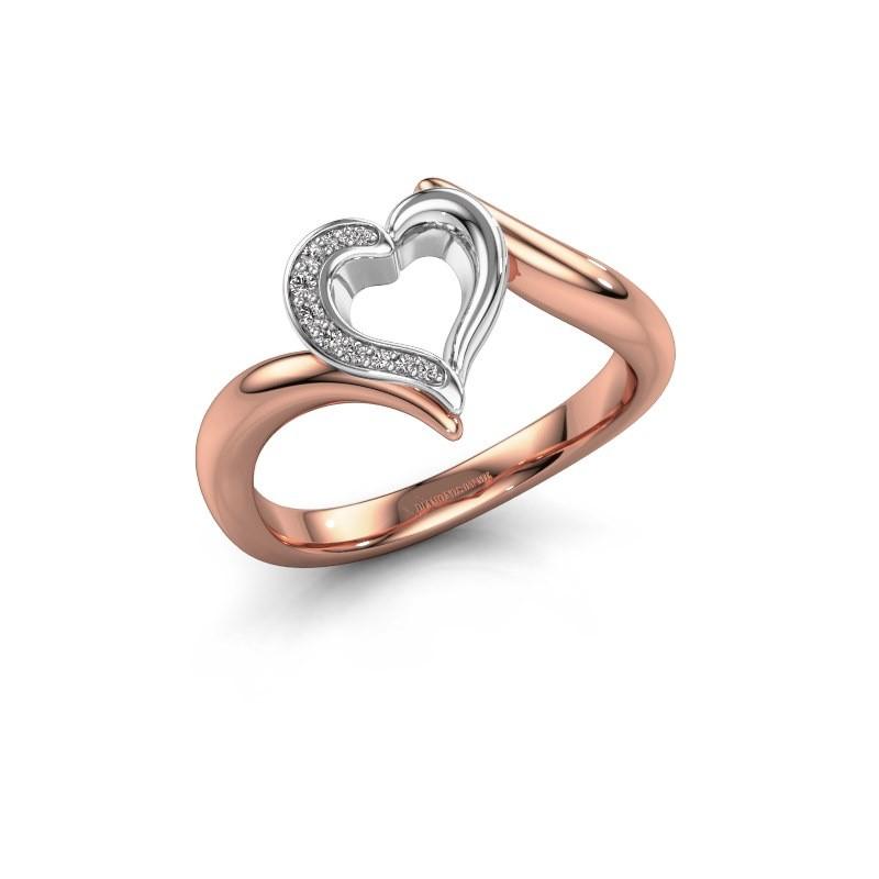 Ring Katlyn 585 rosé goud diamant 0.038 crt