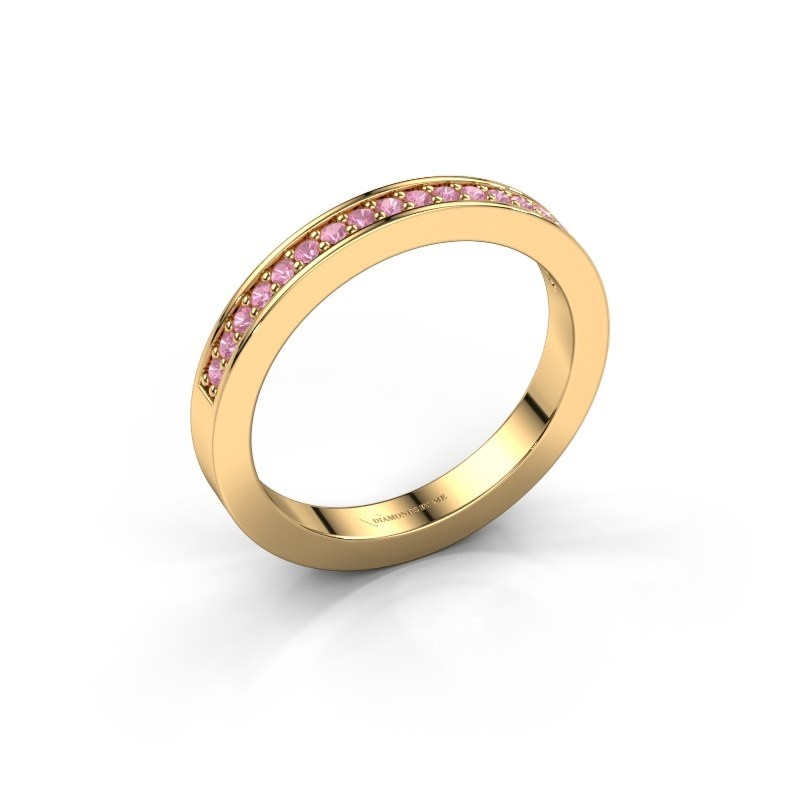 Stackable ring Loes 4 375 gold pink sapphire 1.3 mm