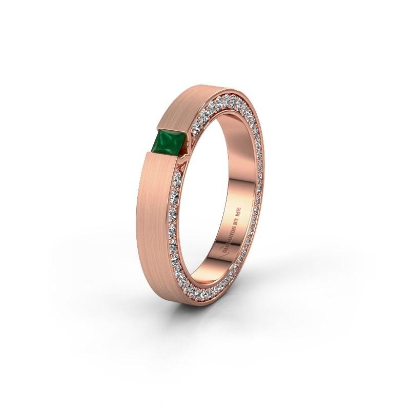 Wedding ring WH2140L14B 375 rose gold emerald ±3,5x2 mm