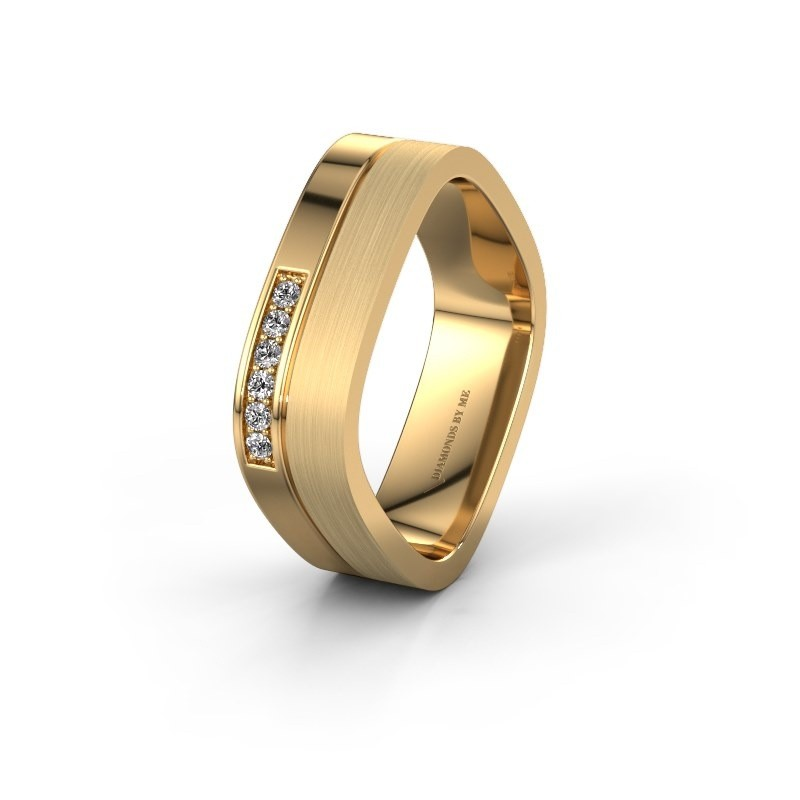 Wedding ring WH6030L16A 585 gold zirconia ±6x1.7 mm