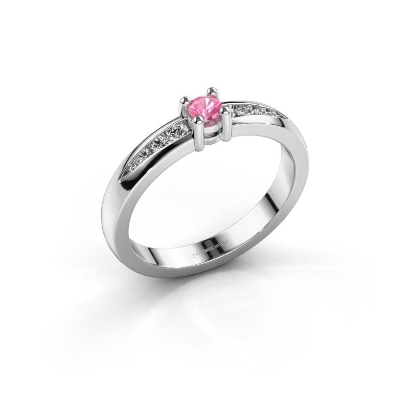 Verlovingsring Zohra 950 platina roze saffier 3 mm