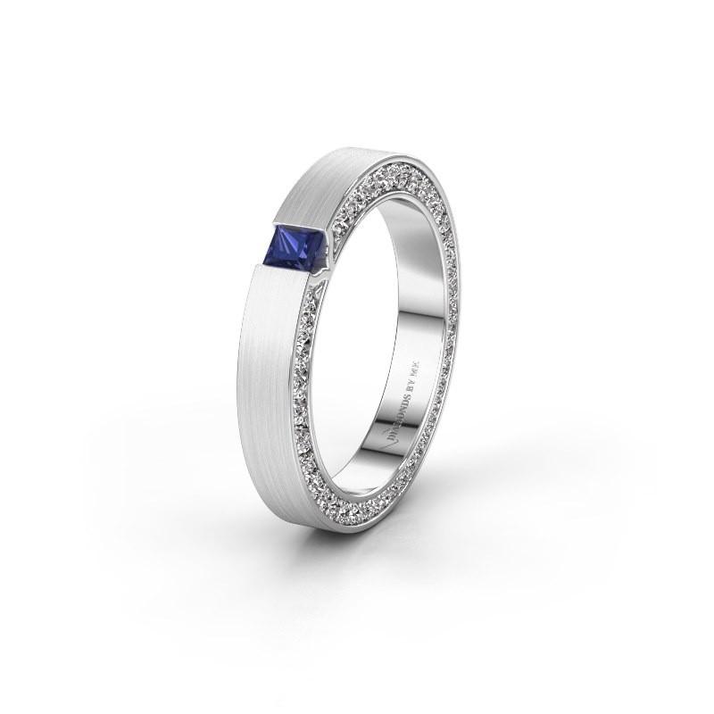 Wedding ring WH2140L14B 925 silver sapphire ±3,5x2 mm