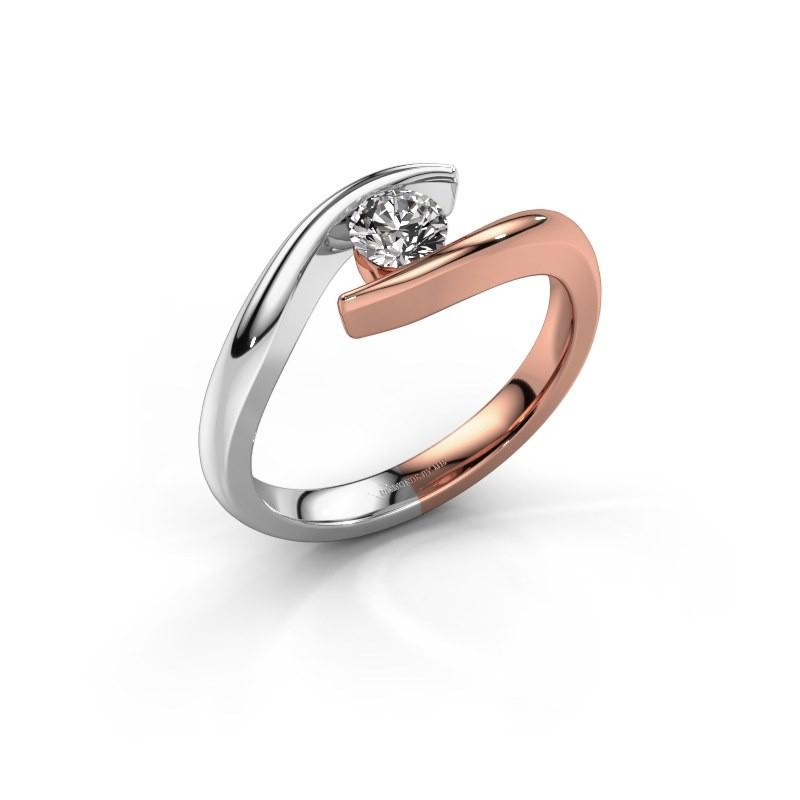 Aanzoeksring Alaina 585 rosé goud diamant 0.30 crt