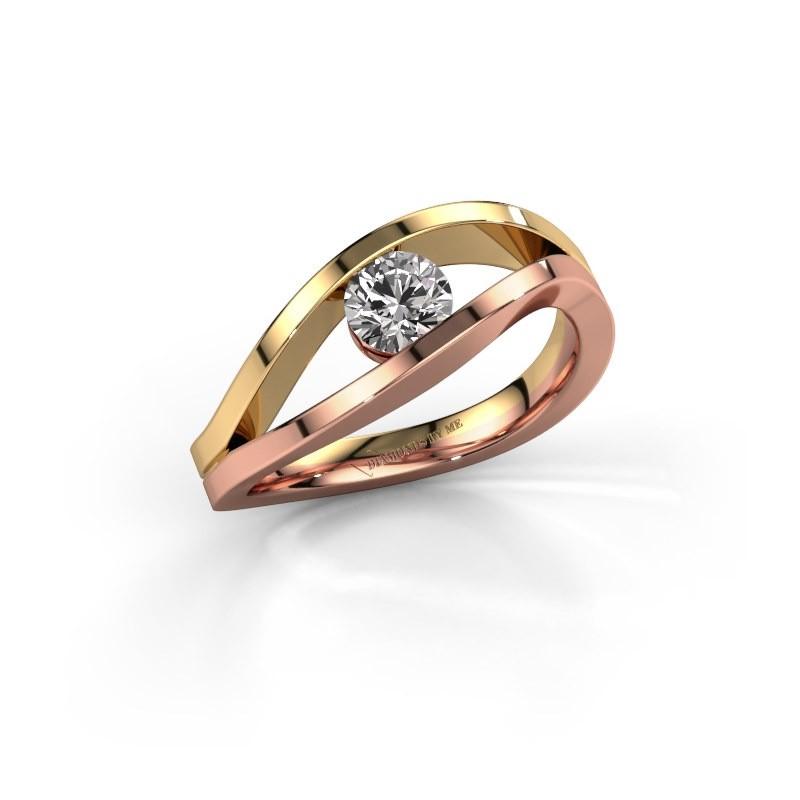 Engagement ring Sigrid 1 585 rose gold diamond 0.40 crt