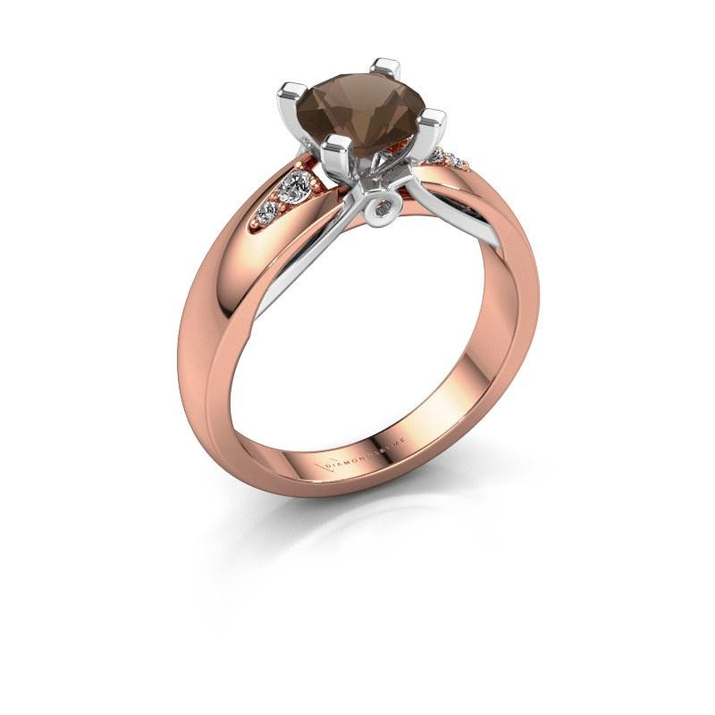 Verlovingsring Ize 585 rosé goud rookkwarts 6.5 mm