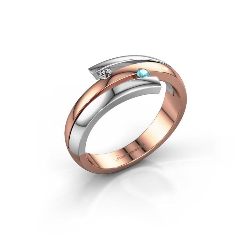 Ring Dena 585 rosé goud blauw topaas 2 mm