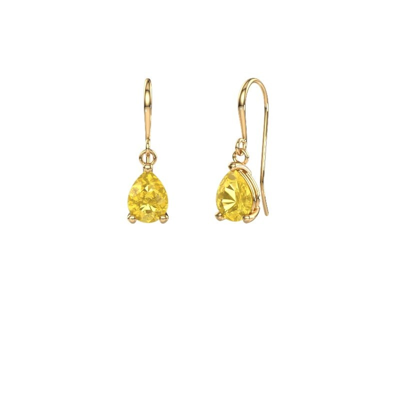 Drop earrings Laurie 1 585 gold yellow sapphire 8x6 mm