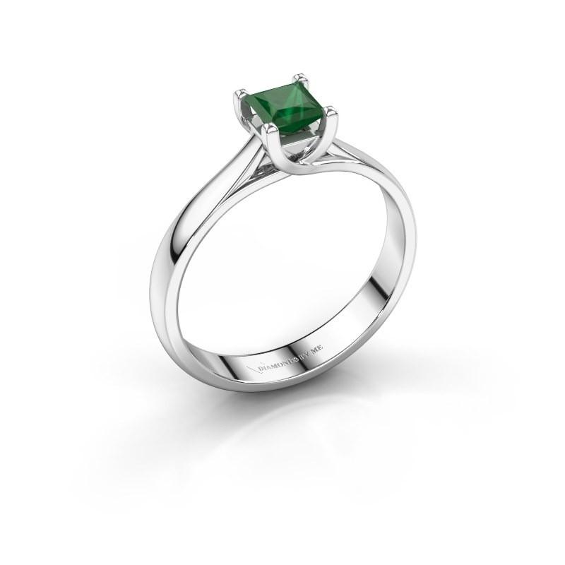 Verlobungsring Mia Square 585 Weißgold Smaragd 4 mm