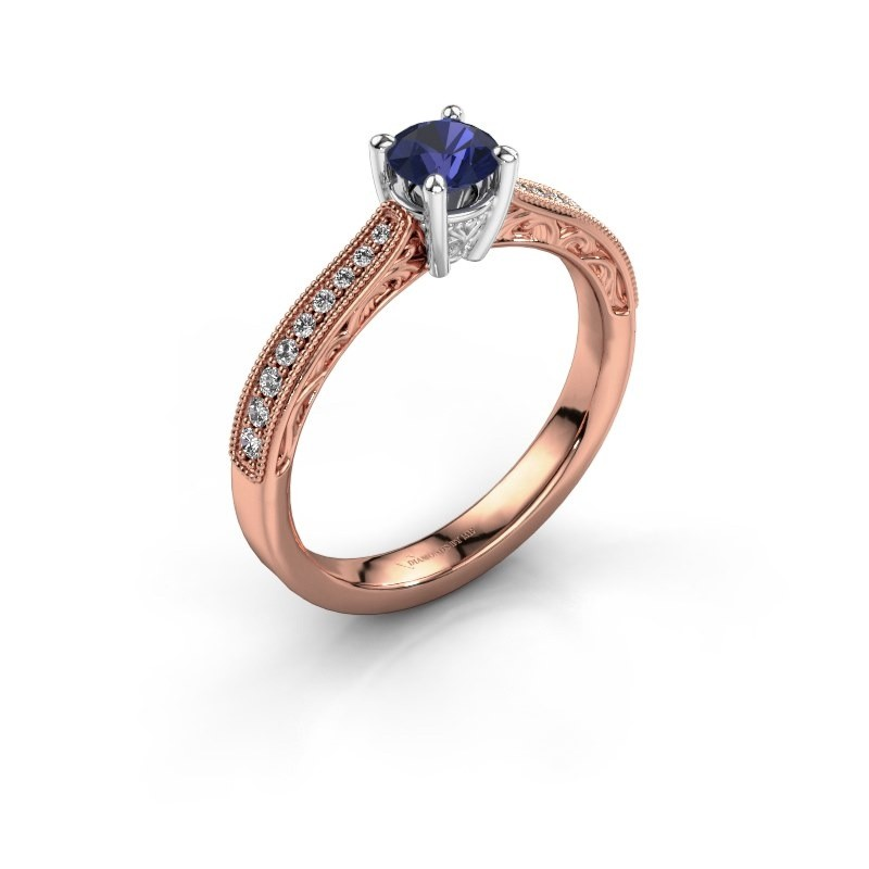 Belofte ring Shonta RND 585 rosé goud saffier 4.7 mm