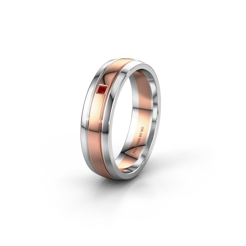 Trouwring WH0422L25X 585 rosé goud robijn ±5x1.5 mm