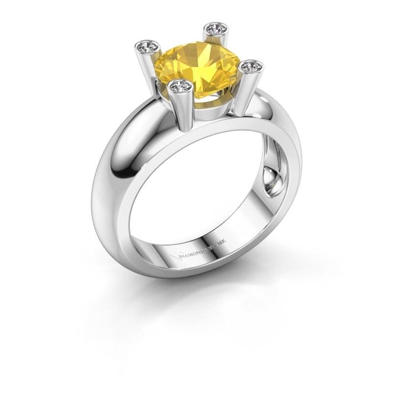 Ring Tamara RND 585 Weißgold Gelb Saphir 8 mm