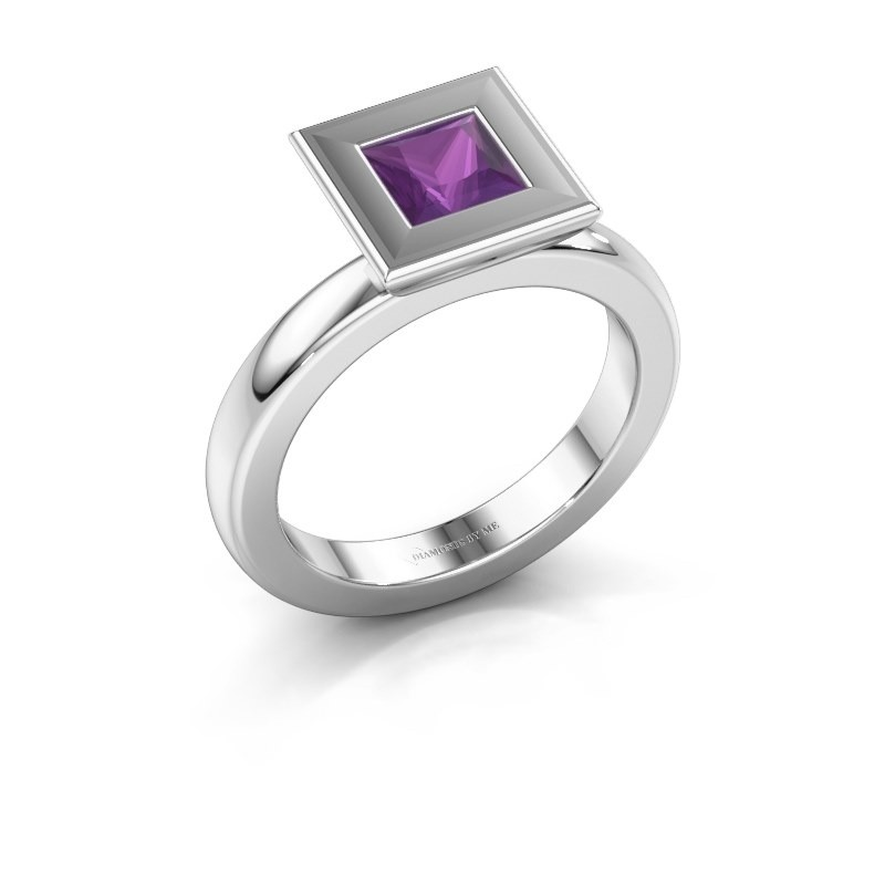 Stapelring Eloise Square 585 witgoud amethist 5 mm