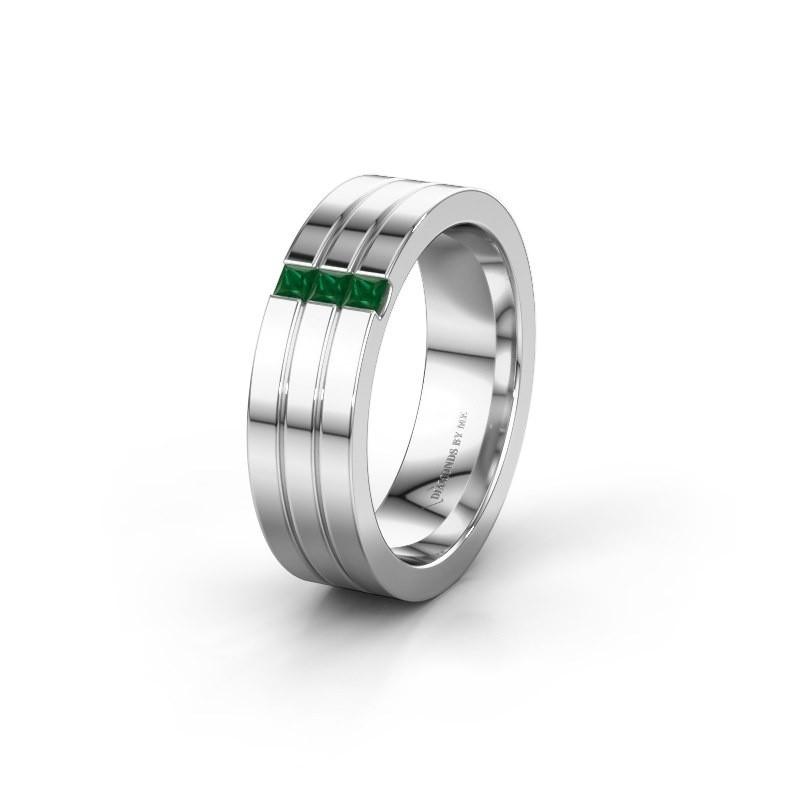 Wedding ring WH0428L16BP 950 platinum emerald ±0.24x0.08 in