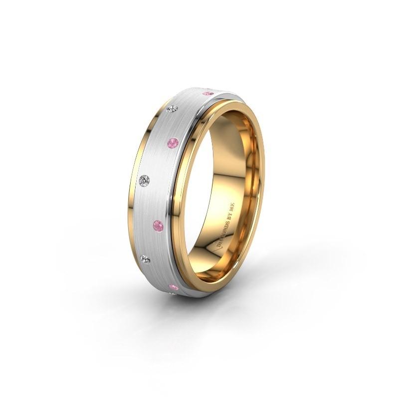 Trouwring WH2134L 585 goud roze saffier ±6x2.2 mm