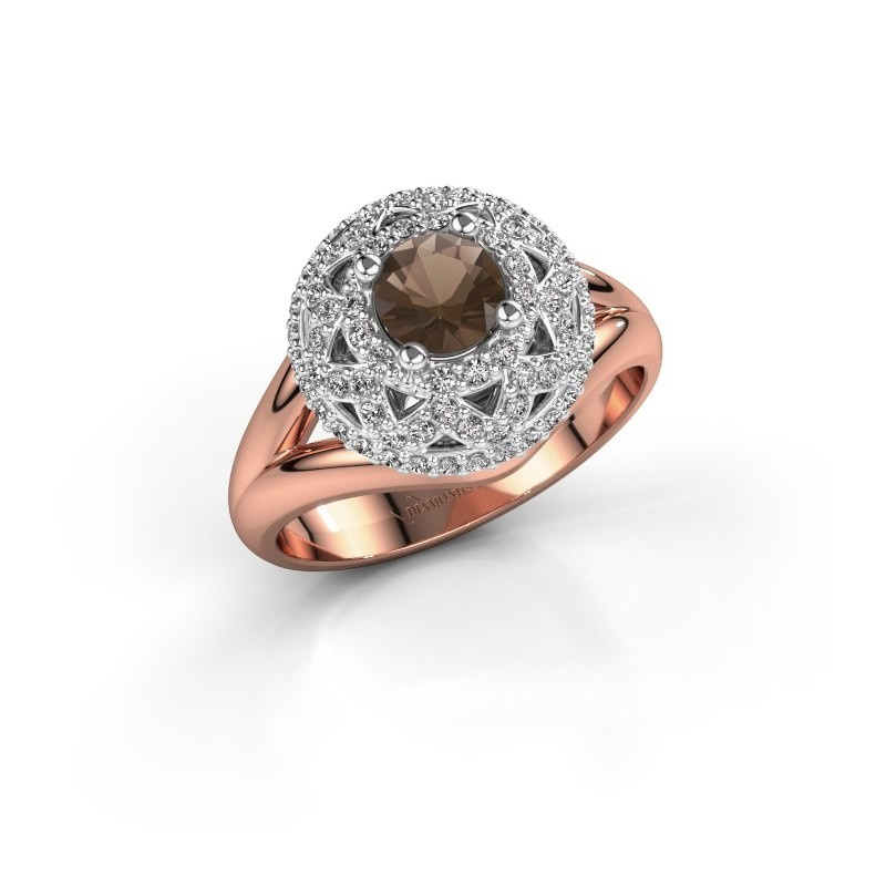 Ring Leonora 585 rose gold smokey quartz 5 mm