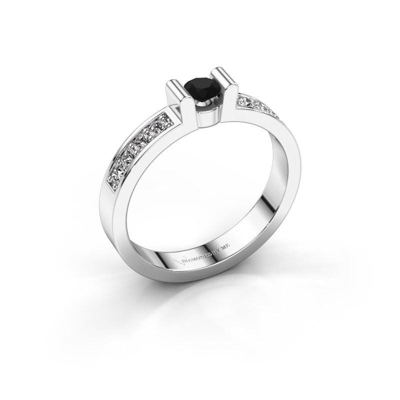 Verlovingsring Sofie 2 585 witgoud zwarte diamant 0.18 crt