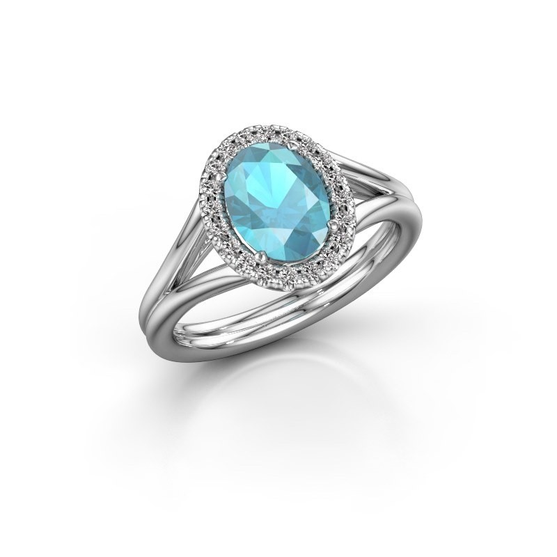 Engagement ring Rachele 1 950 platinum blue topaz 8x6 mm