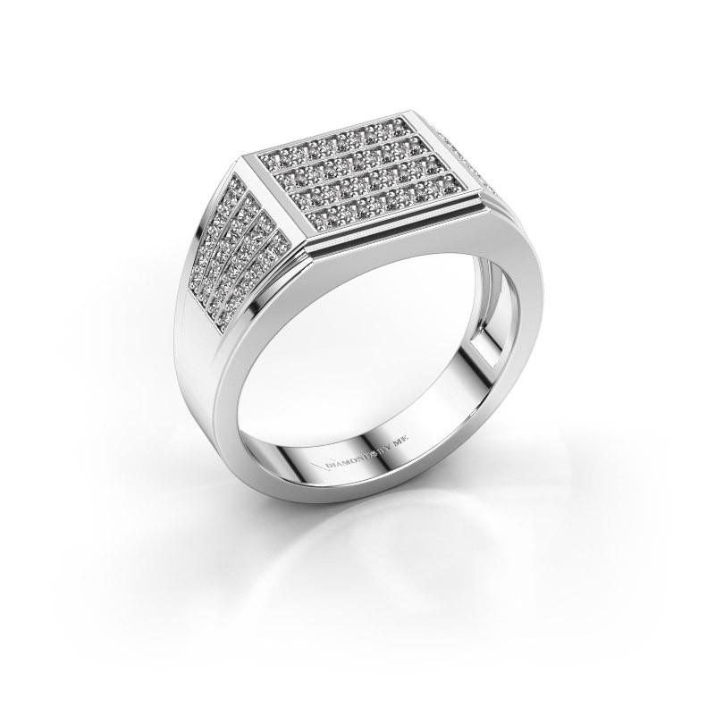 Men's ring Tim 585 white gold zirconia 1.5 mm
