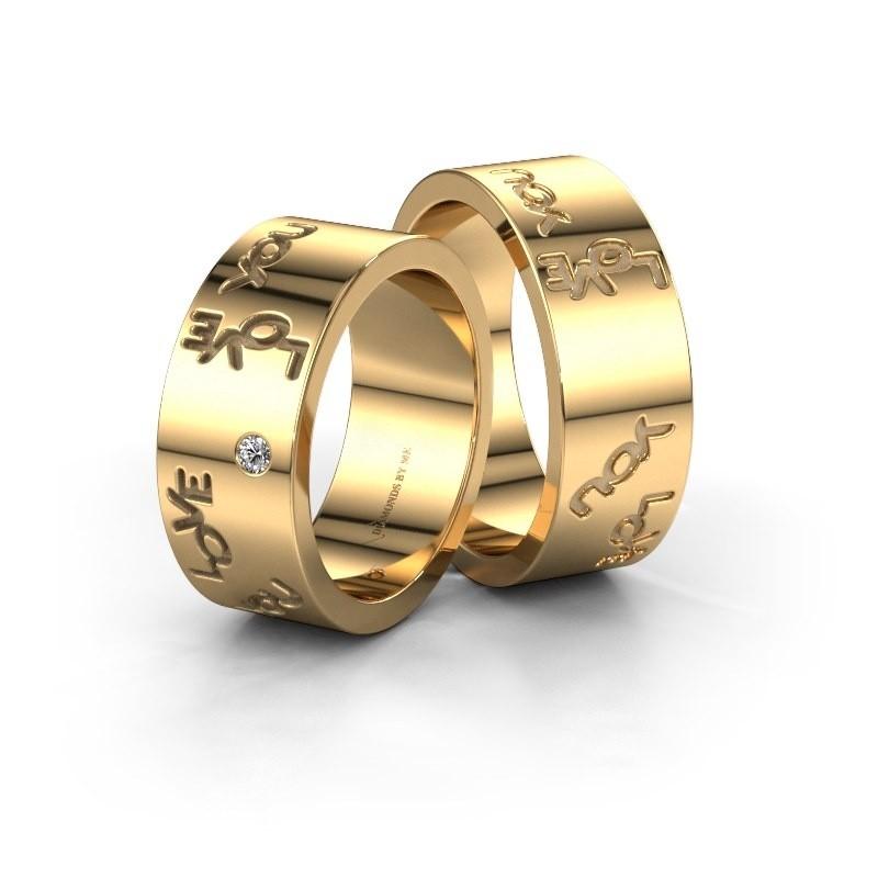 Trouwringen set WHR0438LM ±6x2 mm 14 karaat goud diamant 0.03 crt