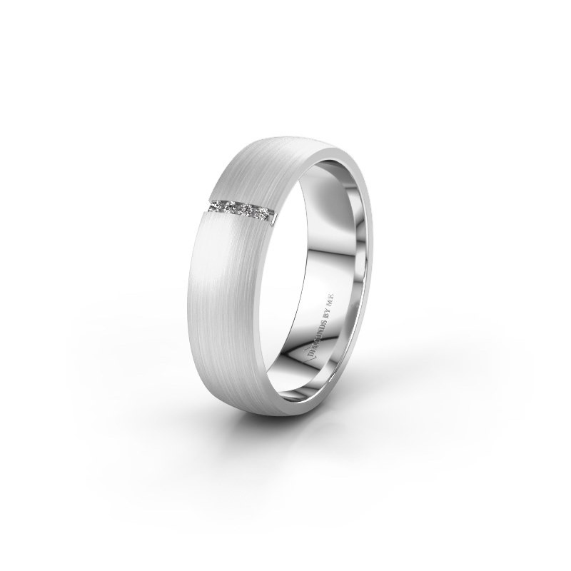Wedding ring WH0154L25XM 585 white gold zirconia ±0.20x0.05 in