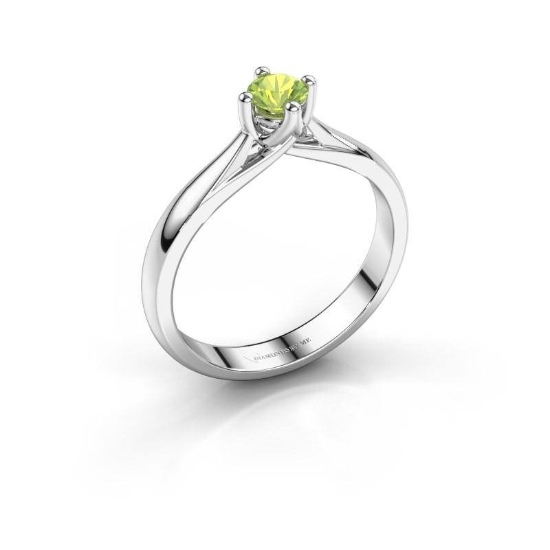 Engagement ring Janne 585 white gold peridot 4.2 mm