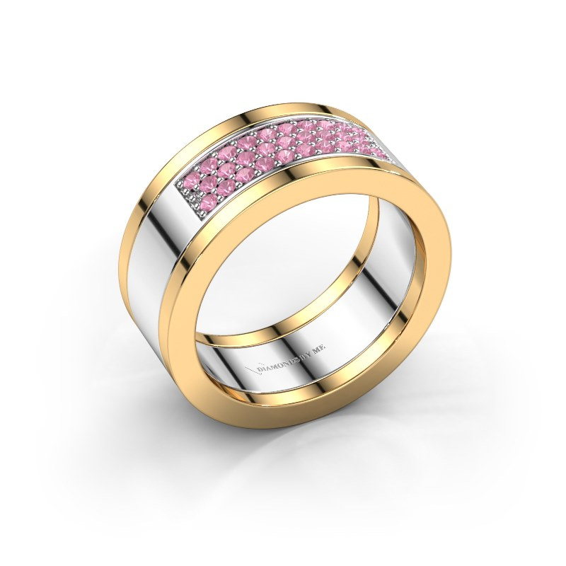 Ring Marita 3 585 witgoud roze saffier 1.3 mm