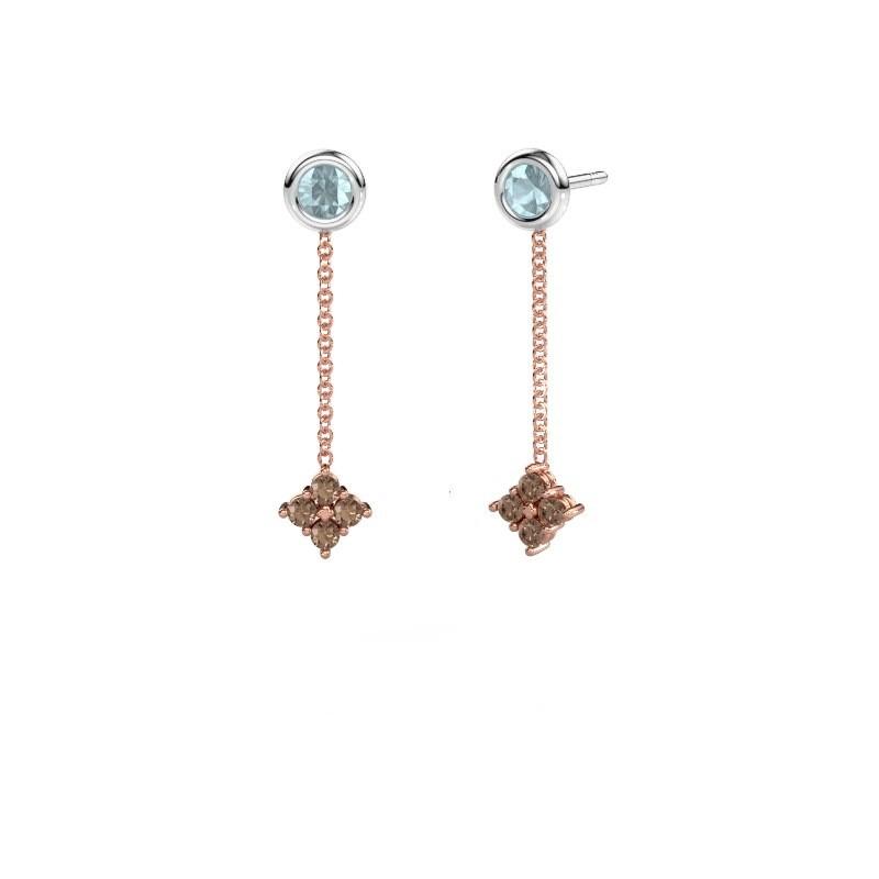 Drop earrings Ardith 585 rose gold brown diamond 0.24 crt